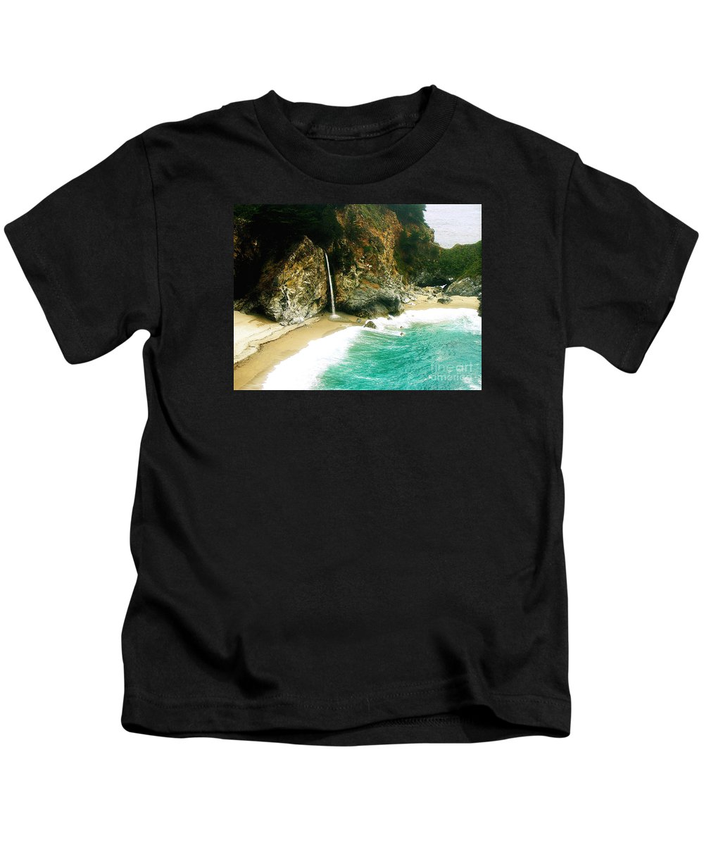 Big Sur Kids T-Shirt featuring the photograph Big Sur Waterfall by Jerome Stumphauzer