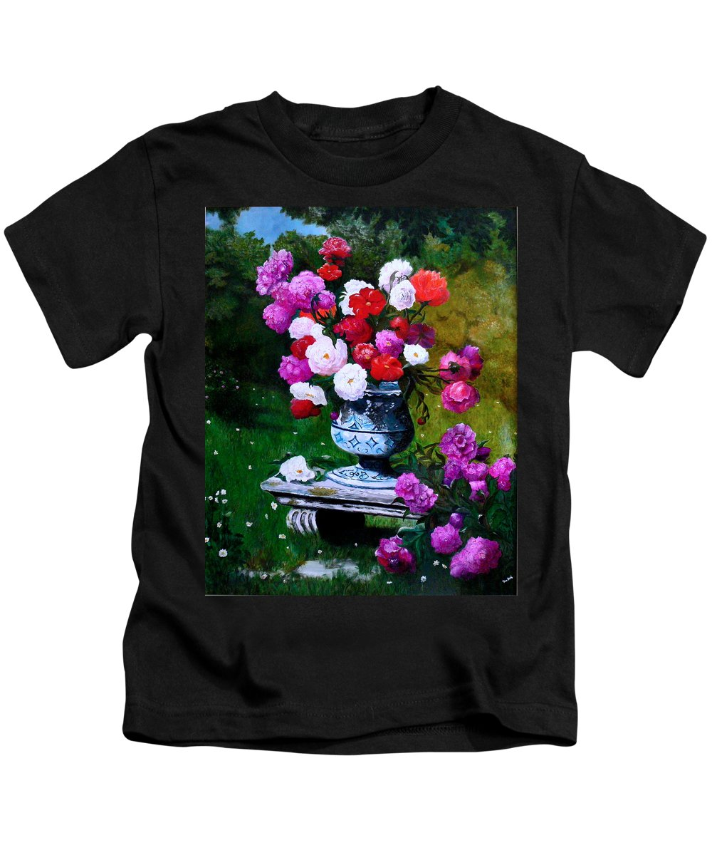 Stilllife Kids T-Shirt featuring the painting Big Vase With Peonies by Helmut Rottler