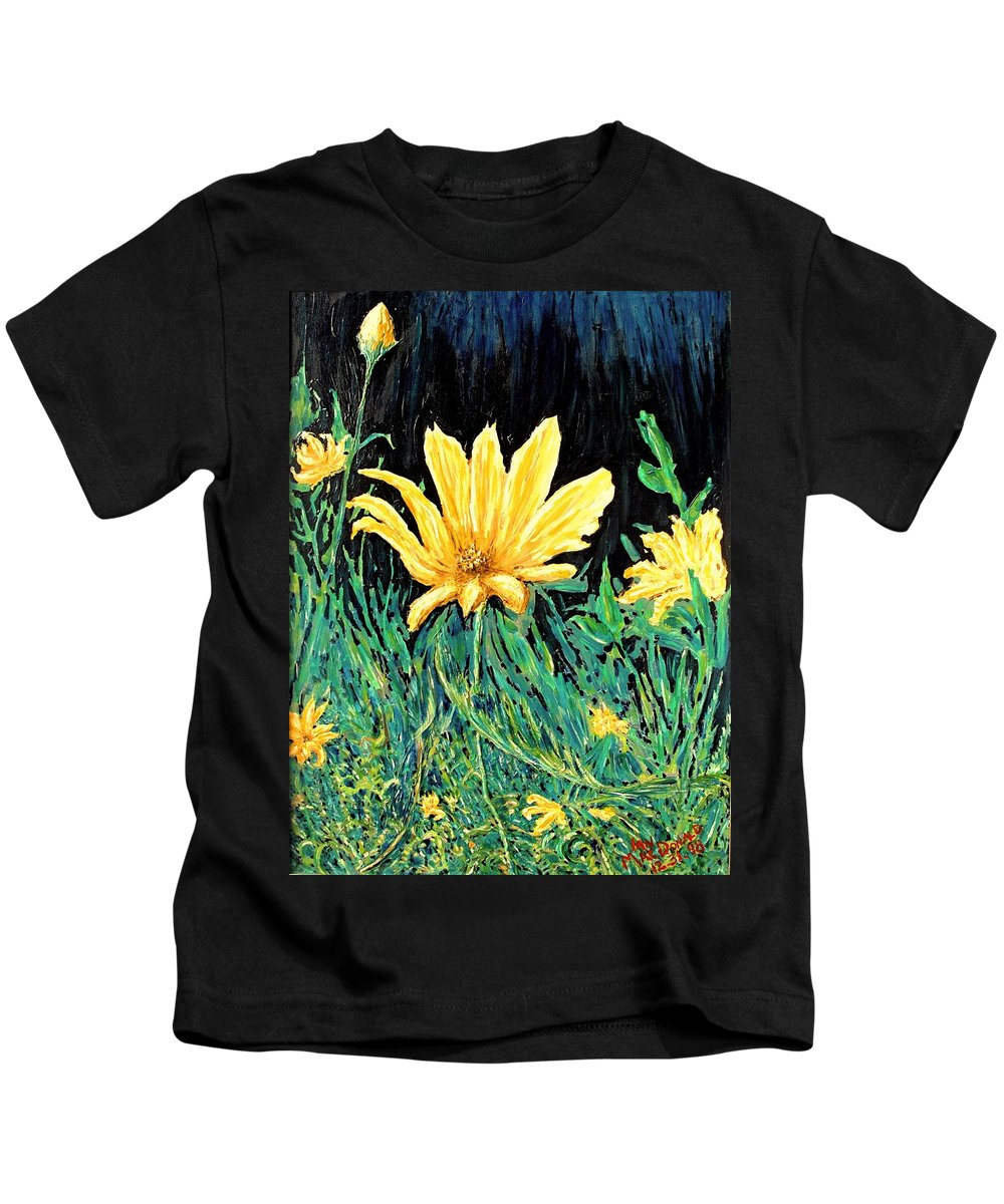 Flower Kids T-Shirt featuring the painting Big Yellow by Ian MacDonald