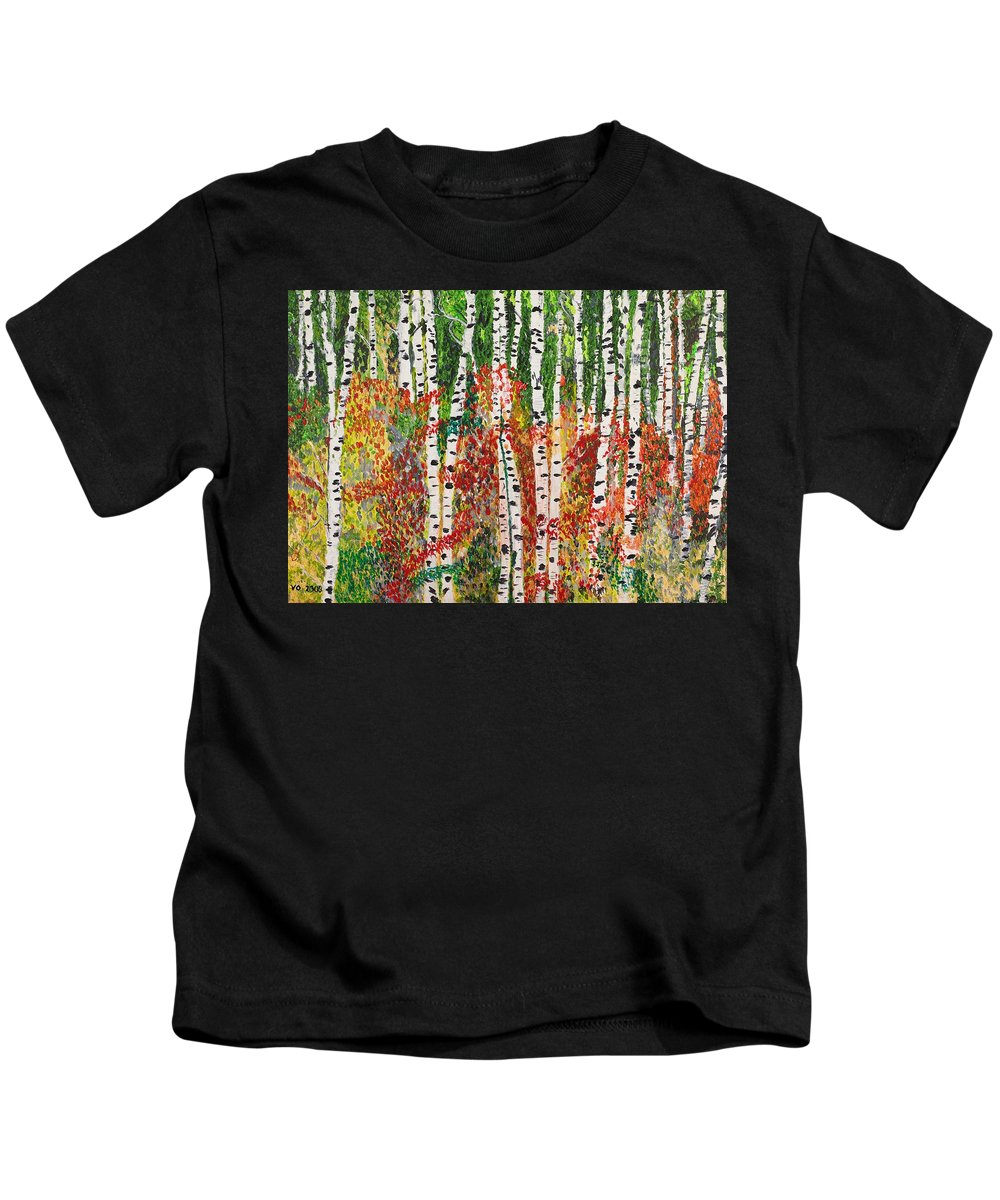 Landscape Kids T-Shirt featuring the painting Birch Forest by Valerie Ornstein