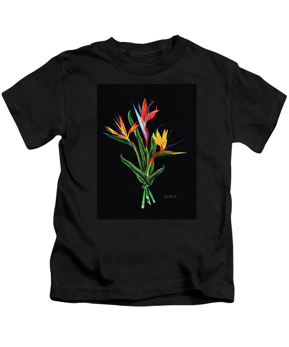 Bird Of Paradise Kids T-Shirt featuring the painting Bird Of Paradise In Black by Peter Piatt
