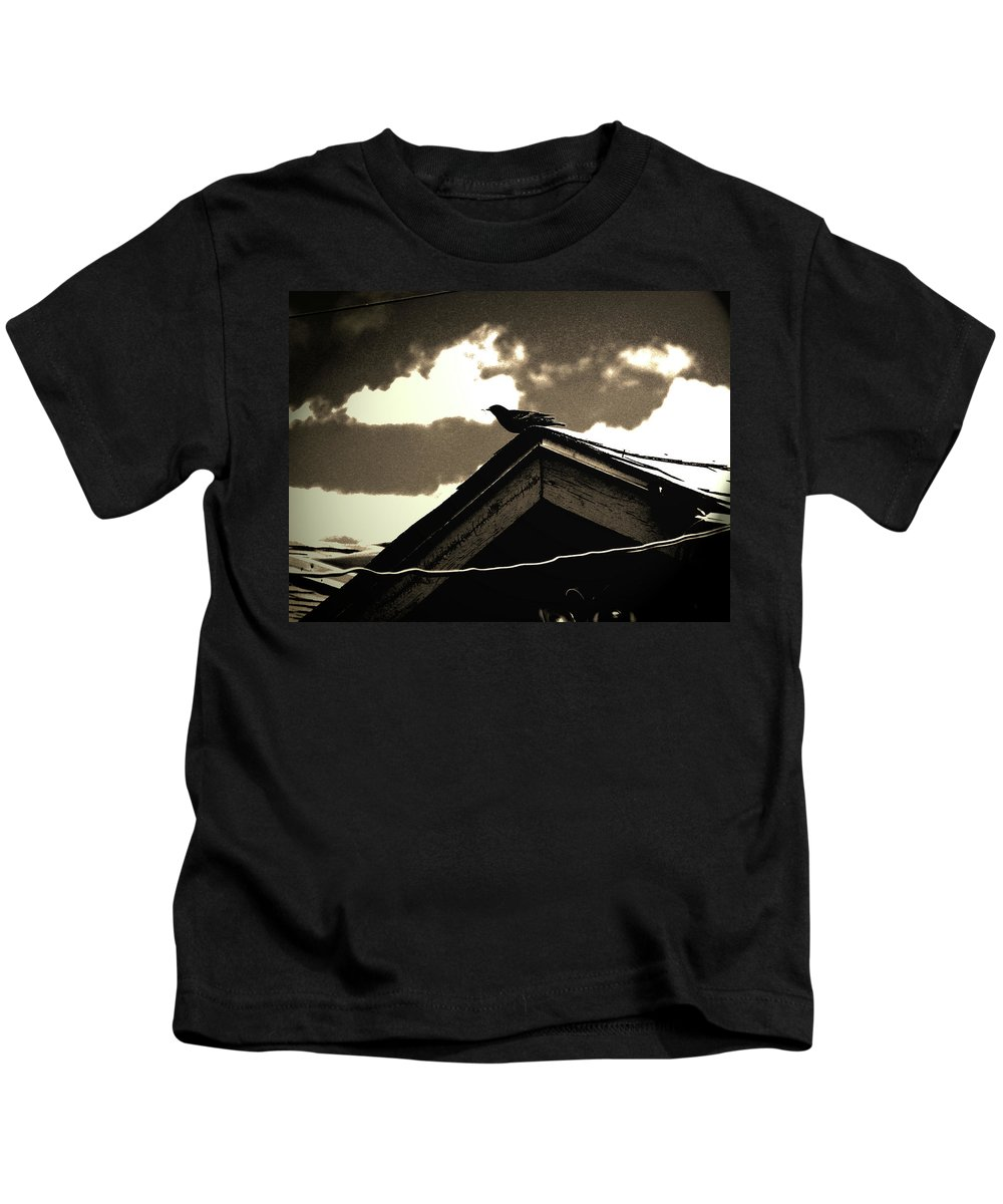 Abstract Kids T-Shirt featuring the photograph Bird On My Garage by Lenore Senior
