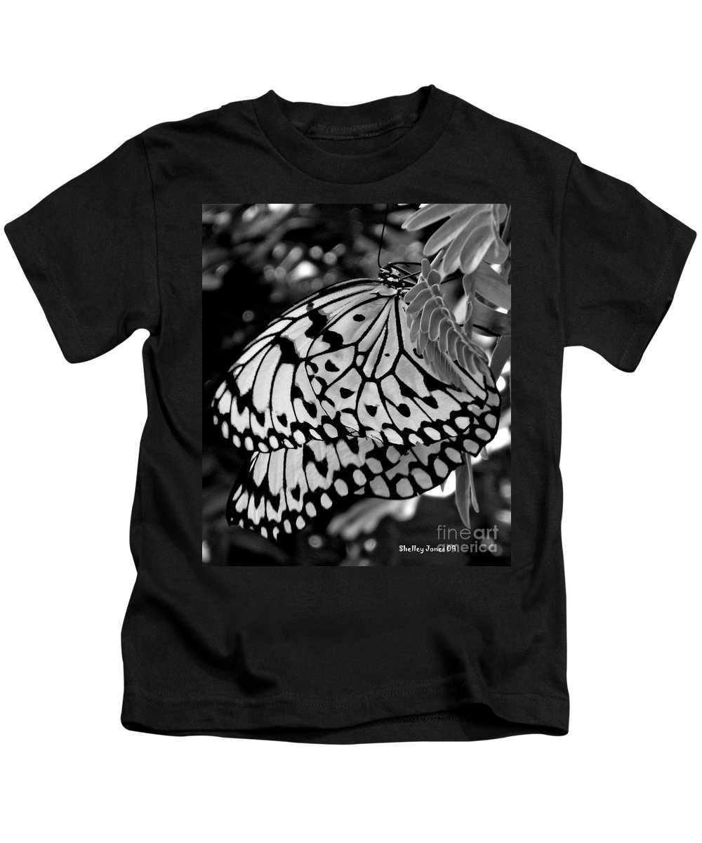 Photograph Kids T-Shirt featuring the photograph Black And White Butterfly by Shelley Jones