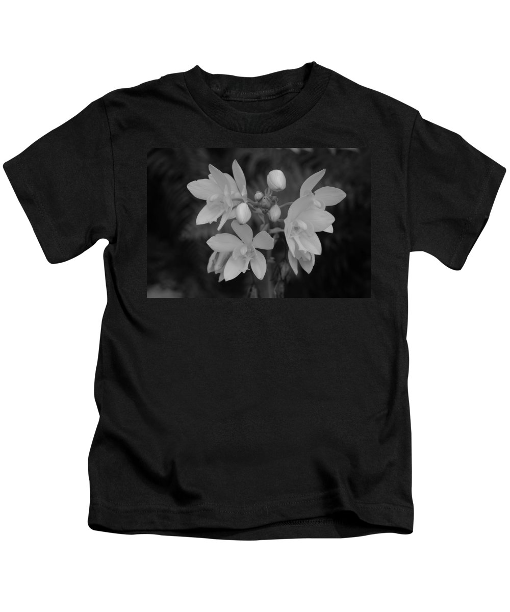 Macro Kids T-Shirt featuring the photograph Black And White Flower by Rob Hans