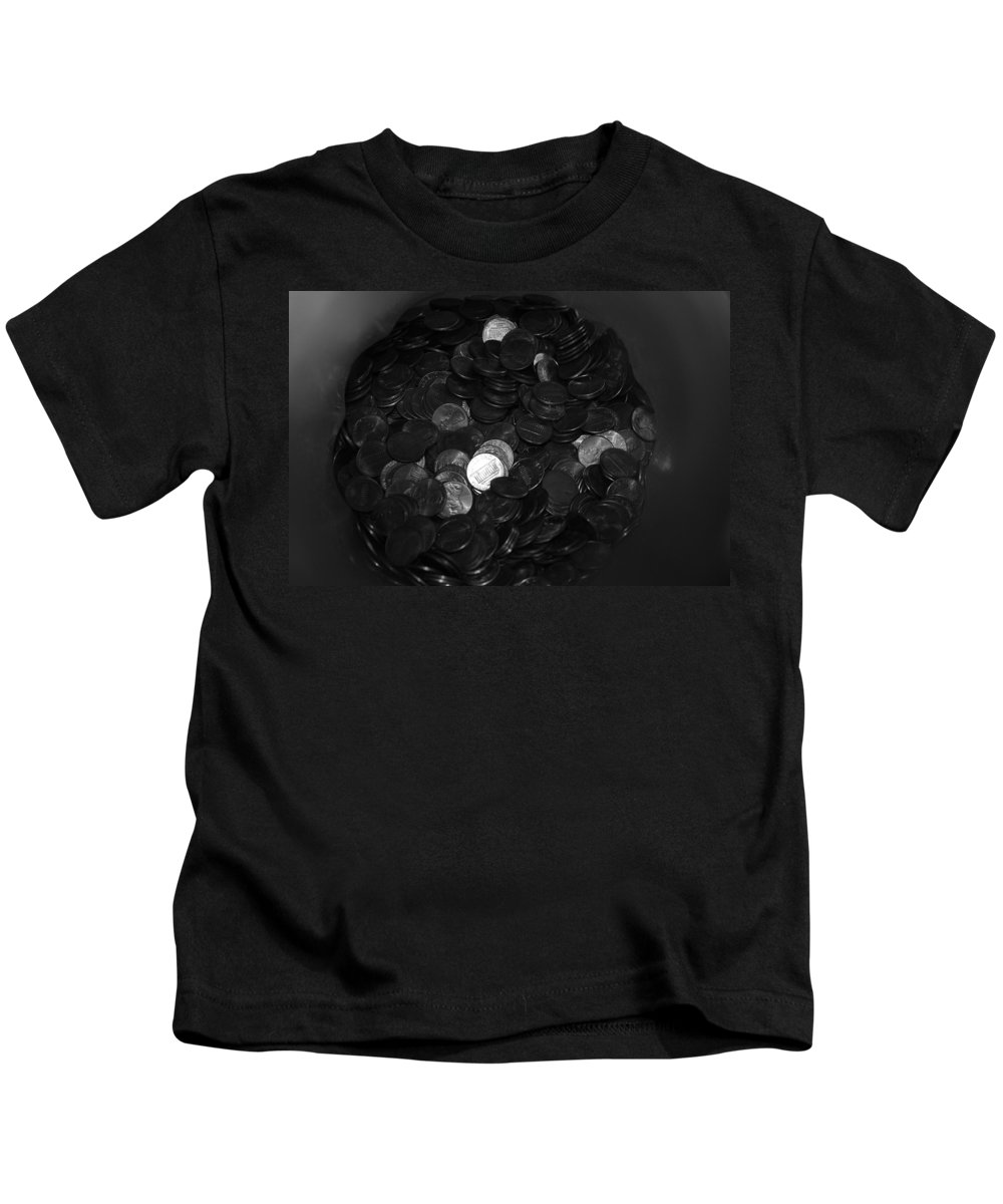 Abstract Kids T-Shirt featuring the photograph Black And White Pennies by Rob Hans