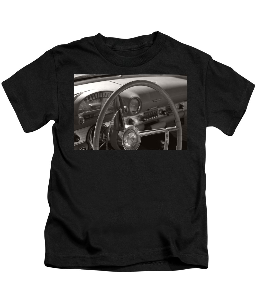 Black And White Photography Kids T-Shirt featuring the photograph Black And White Thunderbird Steering Wheel by Heather Kirk