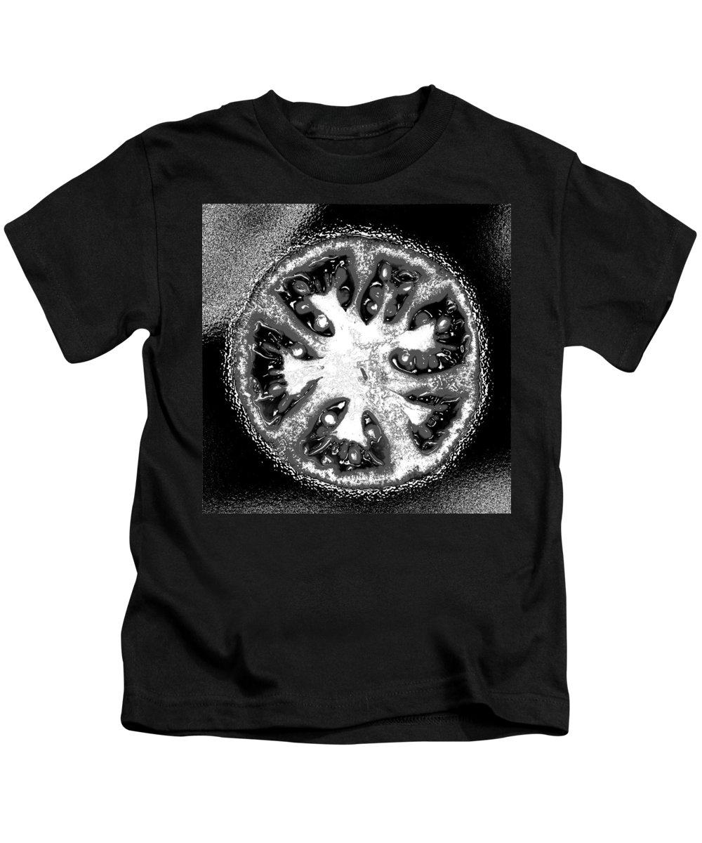 Tomato Kids T-Shirt featuring the photograph Black And White Tomato by Nancy Mueller