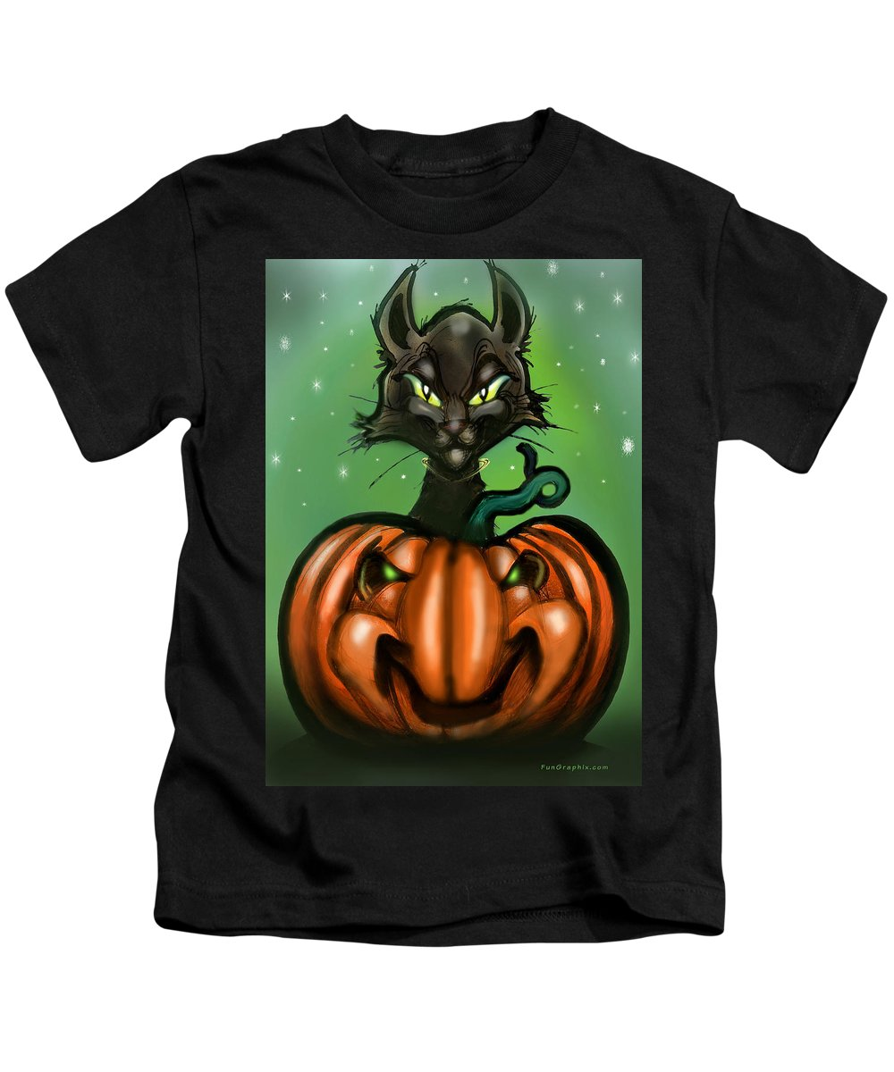 Halloween Kids T-Shirt featuring the greeting card Black Cat N Pumpkin by Kevin Middleton