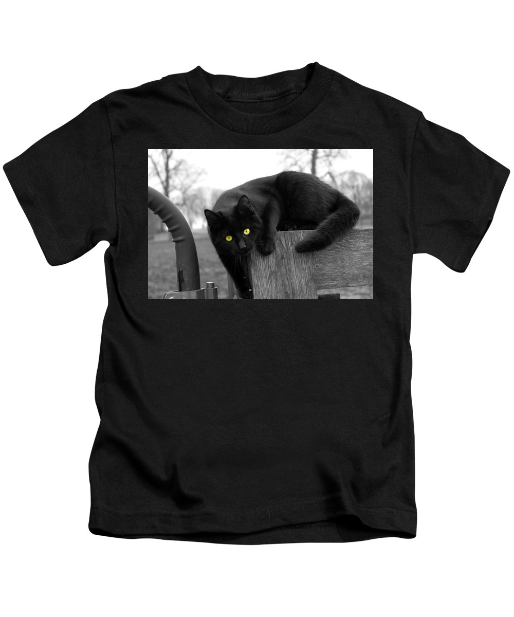 Kids T-Shirt featuring the photograph Black Cat by Thomas Blackwood