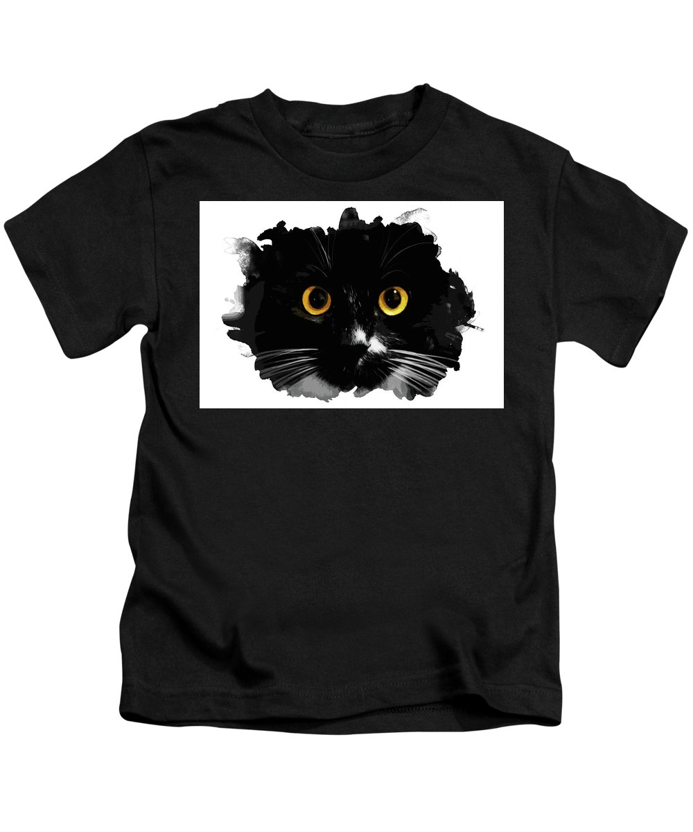 Black Kids T-Shirt featuring the painting Black Cat, Yellow Eyes by Andrea Mazzocchetti