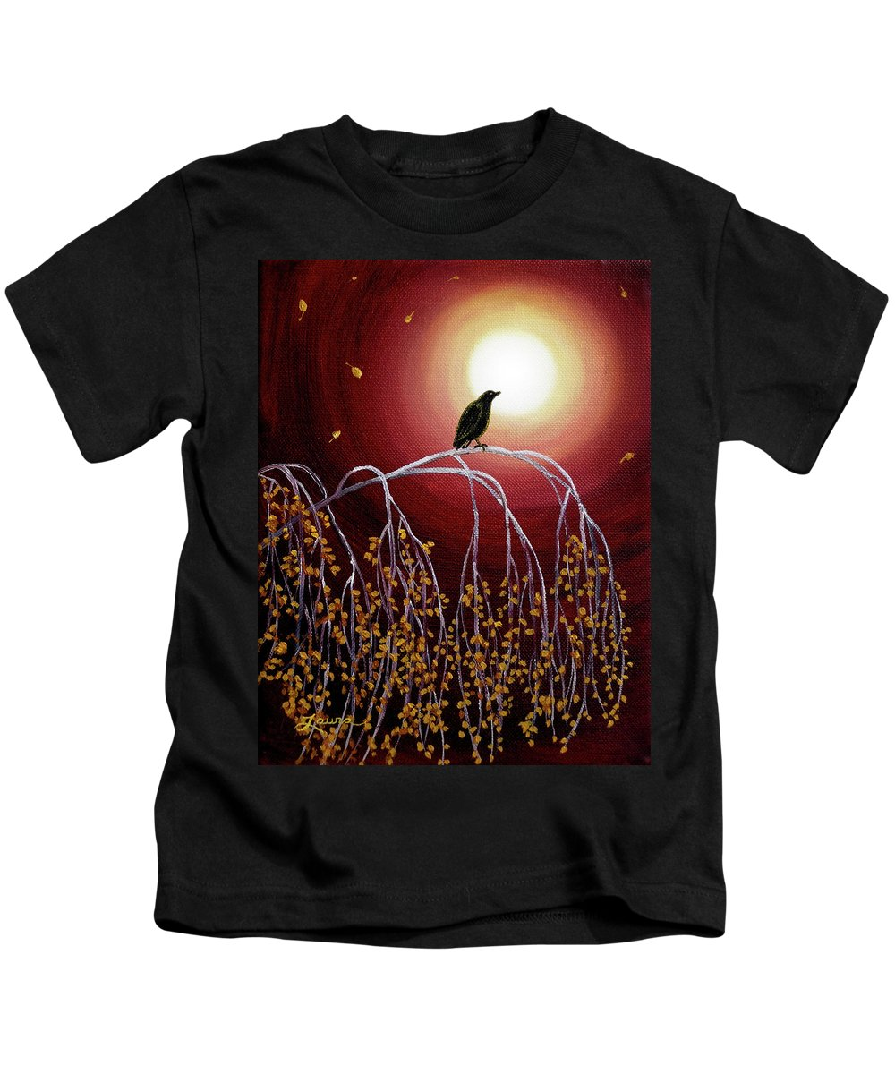 Zen Kids T-Shirt featuring the painting Black Crow On White Birch Branches by Laura Iverson