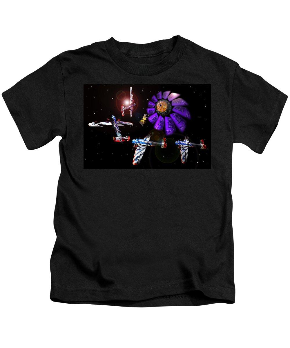 Scifi Kids T-Shirt featuring the digital art Black Dwarf by Charles Stuart