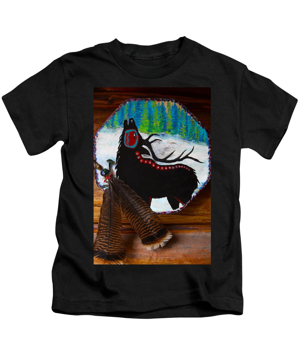 Native Kids T-Shirt featuring the mixed media Black Elk Drum Painting by Karon Melillo DeVega