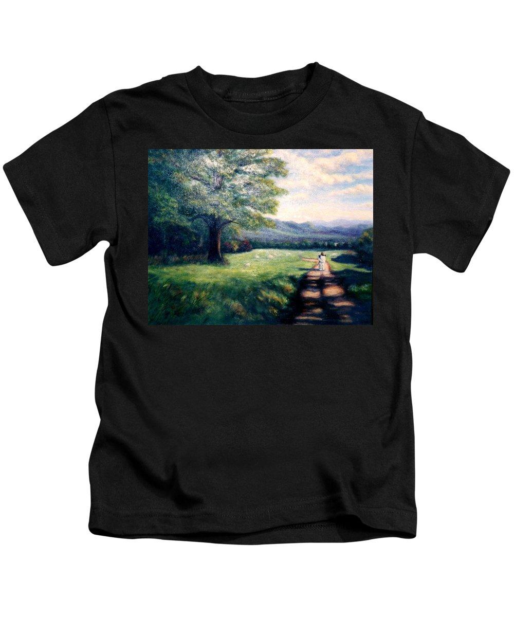 Christian Kids T-Shirt featuring the painting Black Sheep by Gail Kirtz