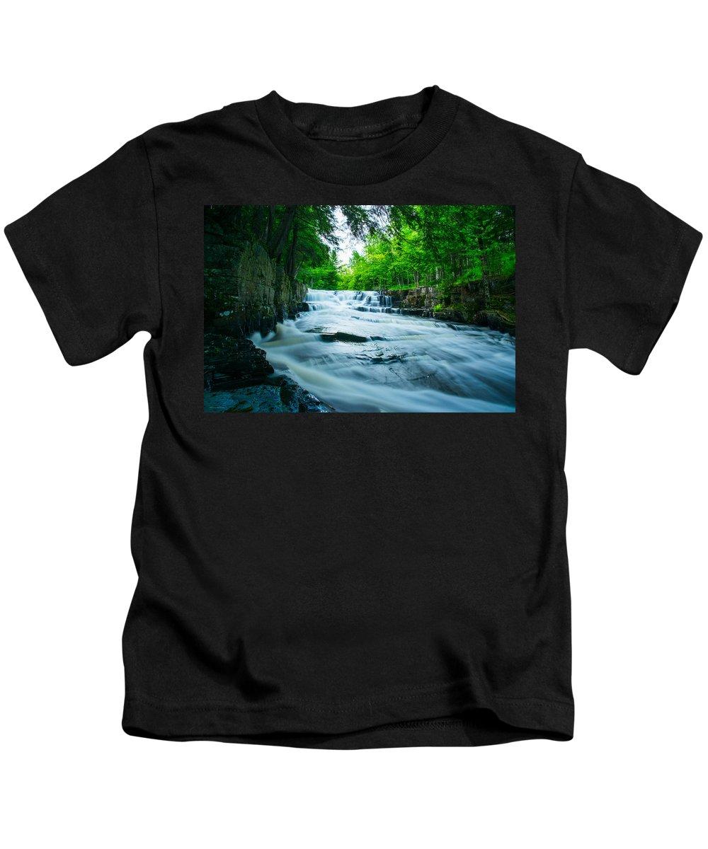 Black Slate Falls Kids T-Shirt featuring the photograph Black Slate Falls by Michael Tucker