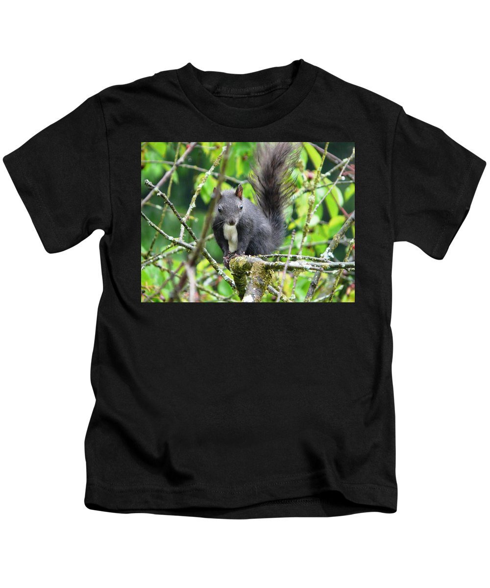 Animal Kids T-Shirt featuring the photograph Black Squirrel In The Cherry Tree by Valerie Ornstein