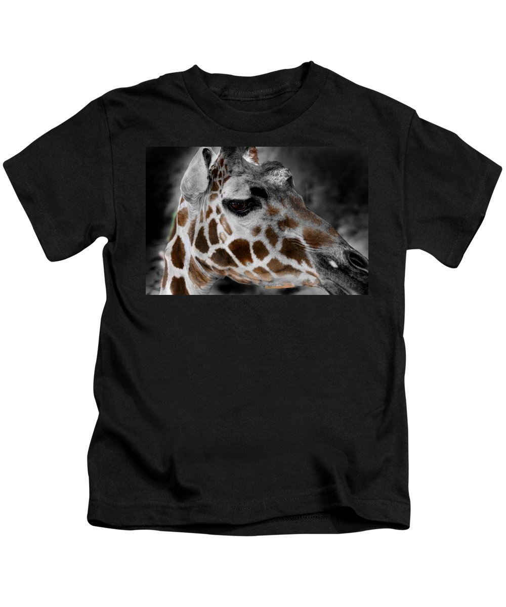 Giraffe Kids T-Shirt featuring the photograph Black White And Color Giraffe by Anthony Jones