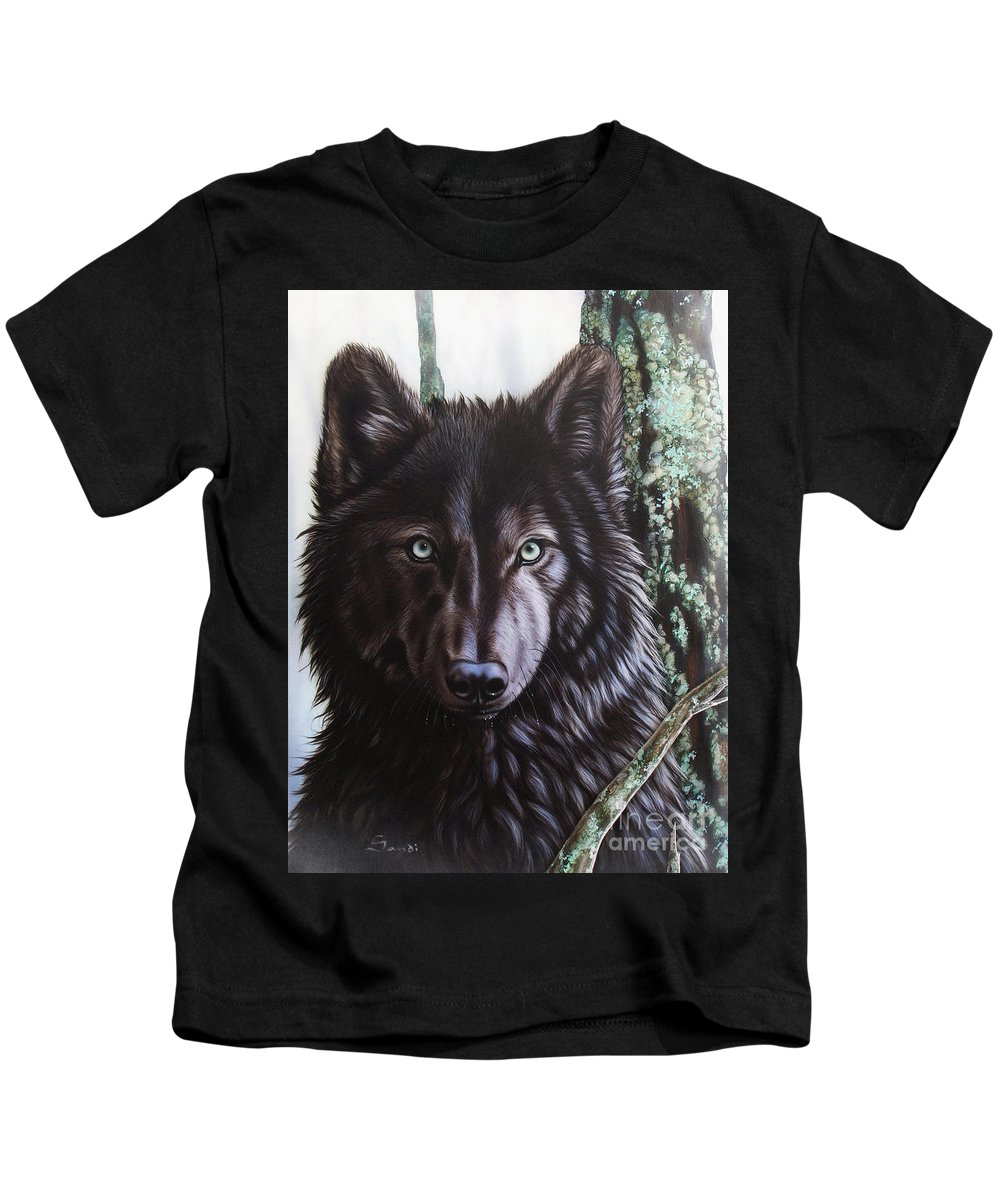 Wolves Kids T-Shirt featuring the painting Black Wolf by Sandi Baker