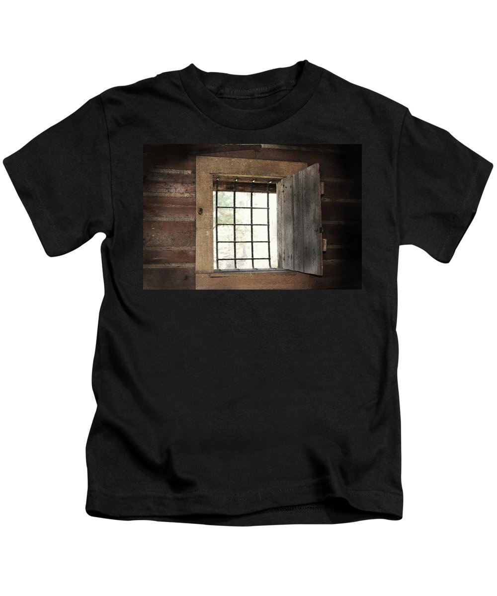 Primitive Photograph Kids T-Shirt featuring the photograph Blacksmith's View by Kim Henderson