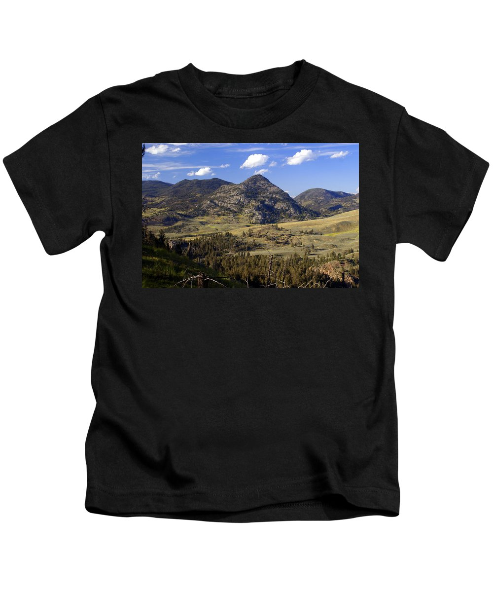 Yellowstone National Park Kids T-Shirt featuring the photograph Blacktail Road Landscape 2 by Marty Koch