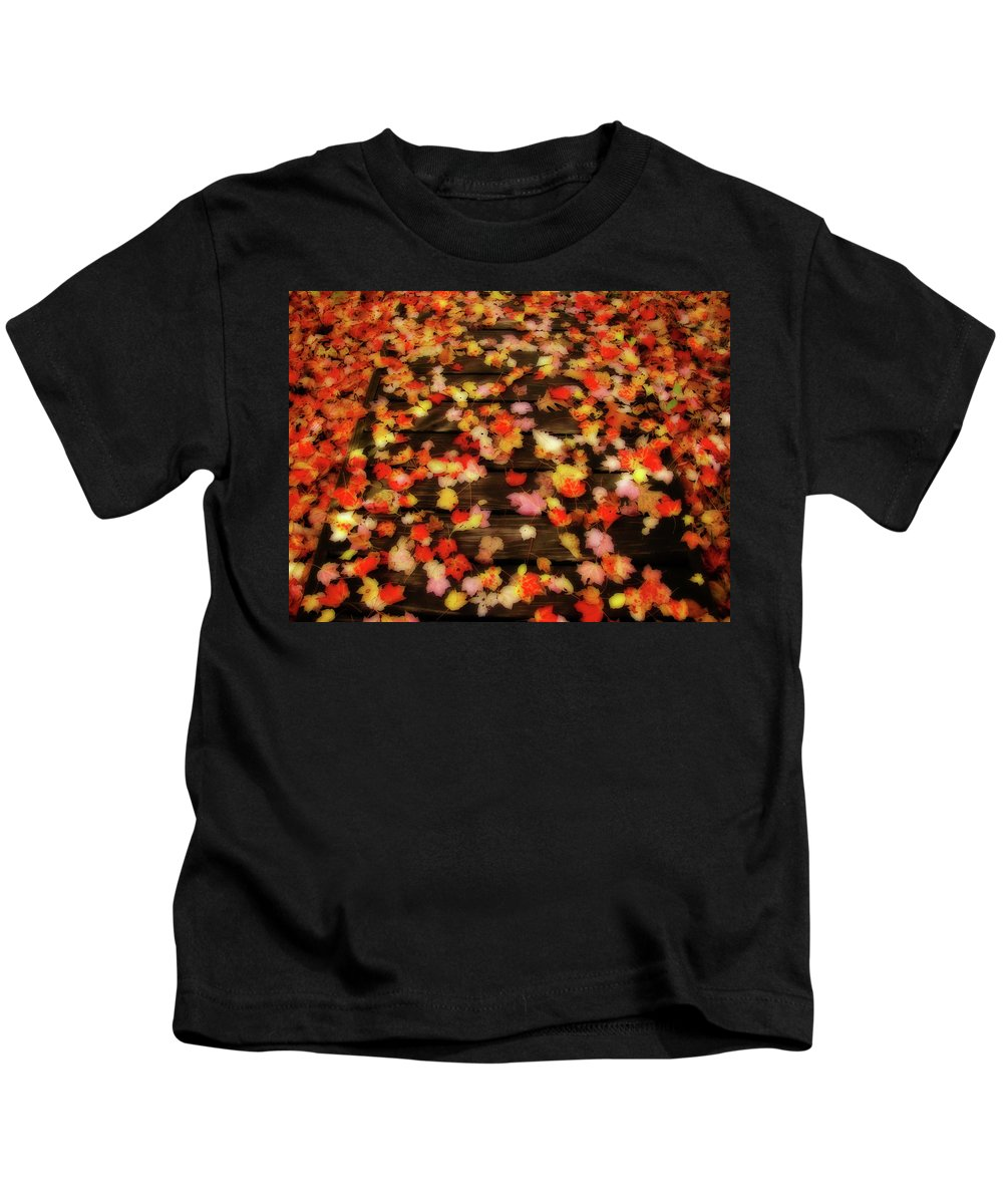 Leaves Kids T-Shirt featuring the photograph Blazen Leaves by Shelley Neff