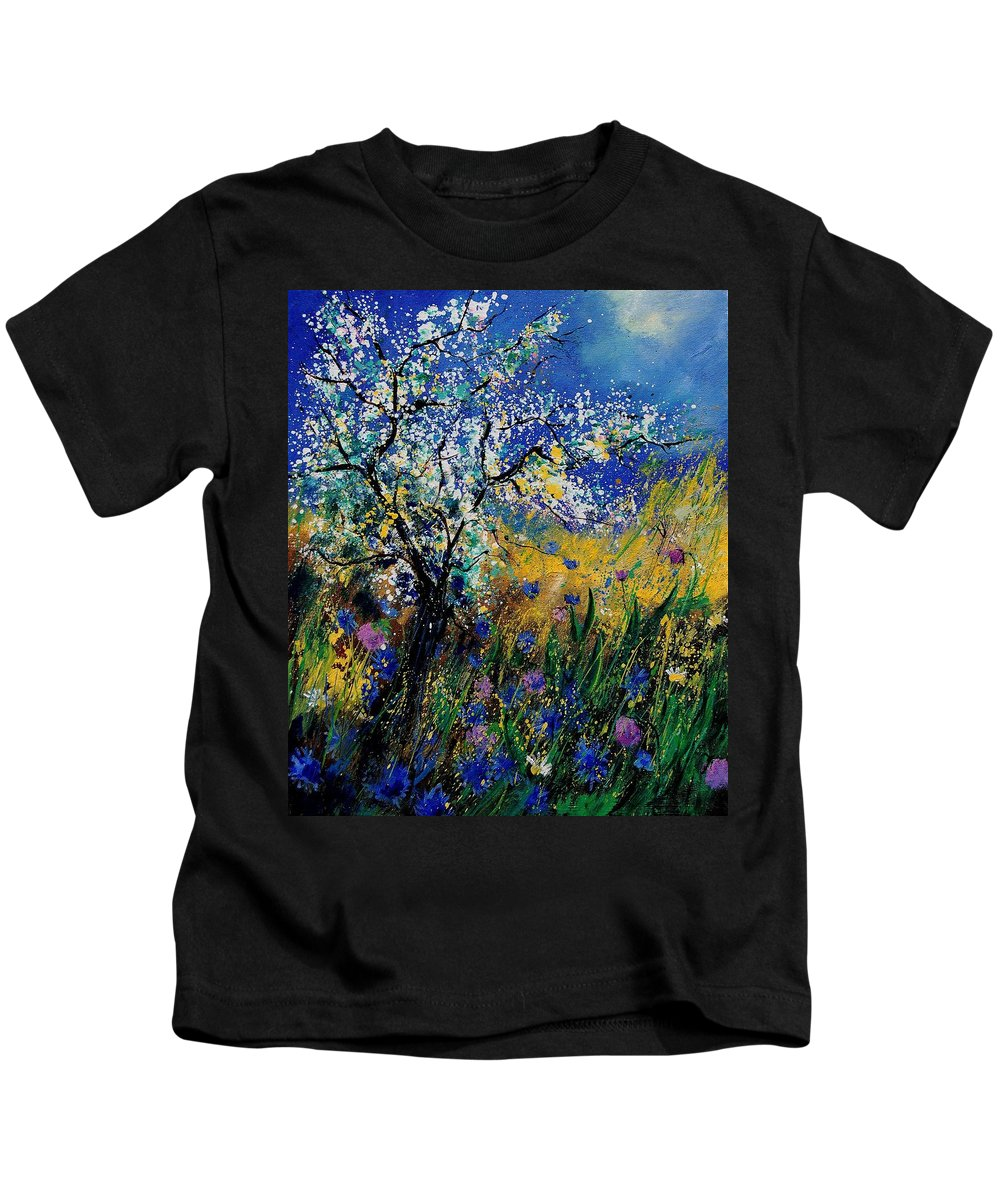 Spring Kids T-Shirt featuring the painting Blooming Appletree by Pol Ledent