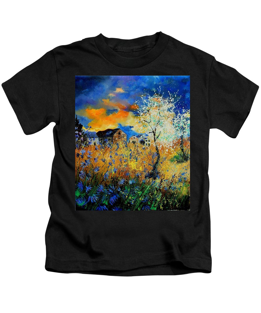 Poppies Kids T-Shirt featuring the painting Blooming Trees by Pol Ledent