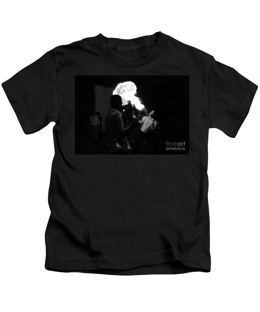 Fire Kids T-Shirt featuring the photograph Blowing Fire by David Lee Thompson