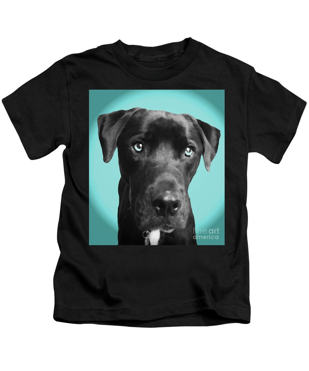 dog Art Kids T-Shirt featuring the photograph Blue by Amanda Barcon