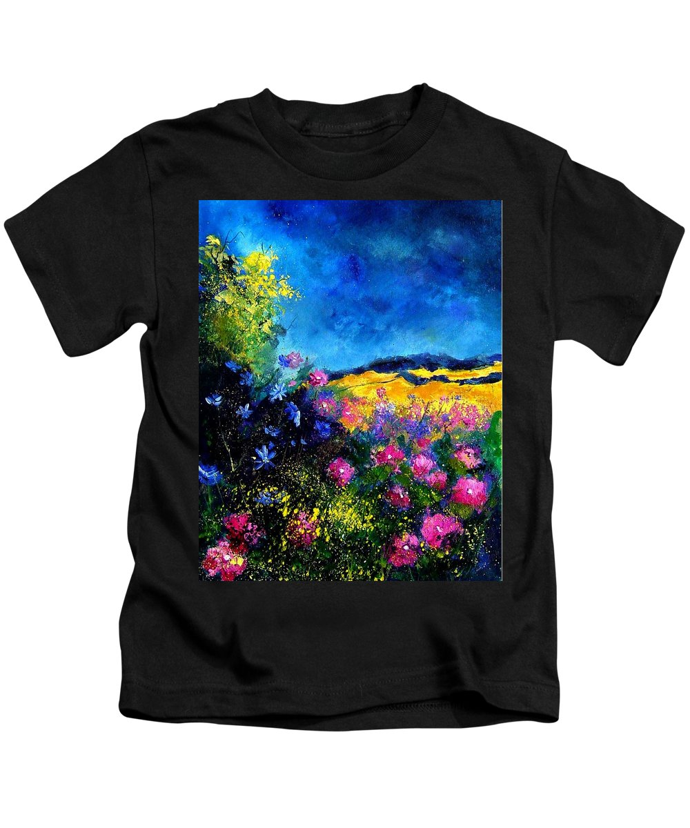 Landscape Kids T-Shirt featuring the painting Blue and pink flowers by Pol Ledent