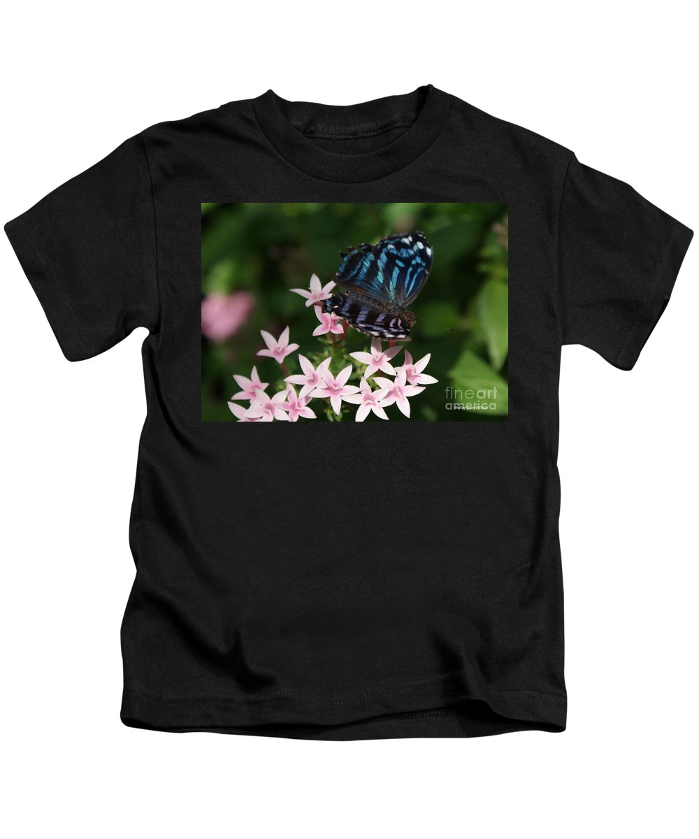 Butterfly Kids T-Shirt featuring the photograph Blue And Pink Make Lilac by Shelley Jones