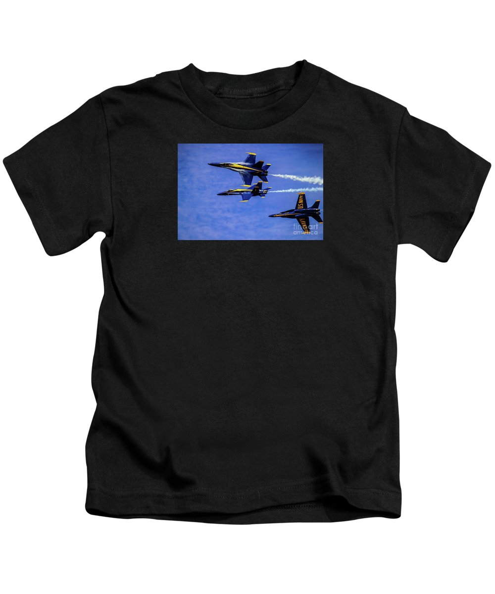 Blue Angels Kids T-Shirt featuring the photograph Blue Angel Roll by Patrick Dablow
