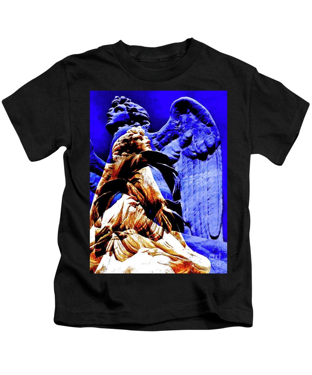 Blue Angel Wings Kids T-Shirt featuring the photograph Blue Angel Wings by Silva Wischeropp