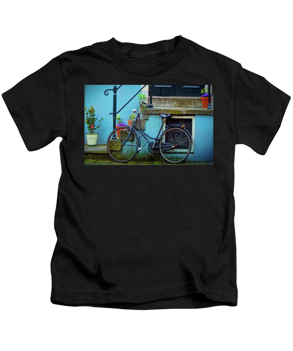 Contest Winner Kids T-Shirt featuring the photograph Blue Bike by Jill Smith
