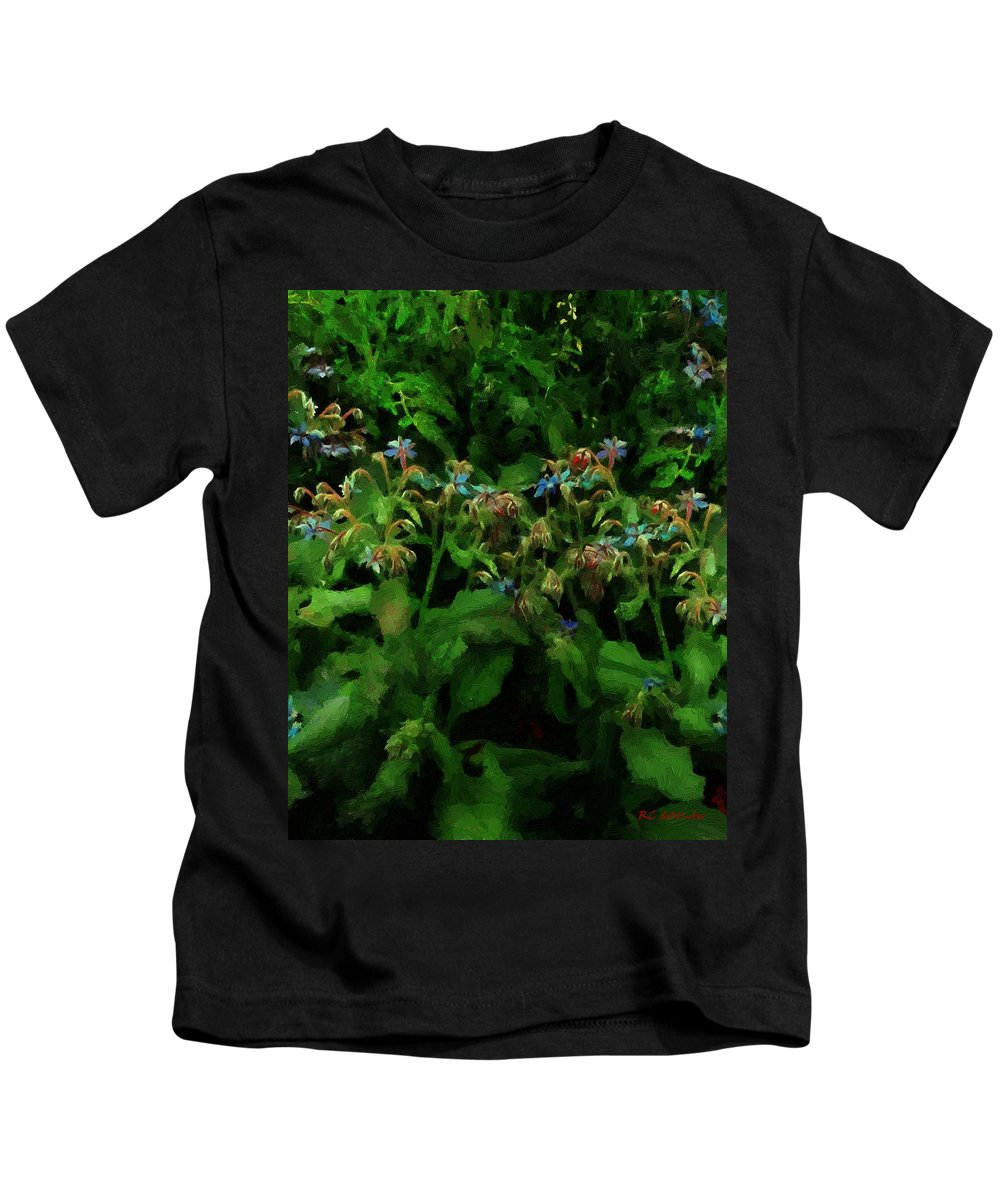Blossoms Kids T-Shirt featuring the painting Blue Blossoms By Moonlight by RC DeWinter