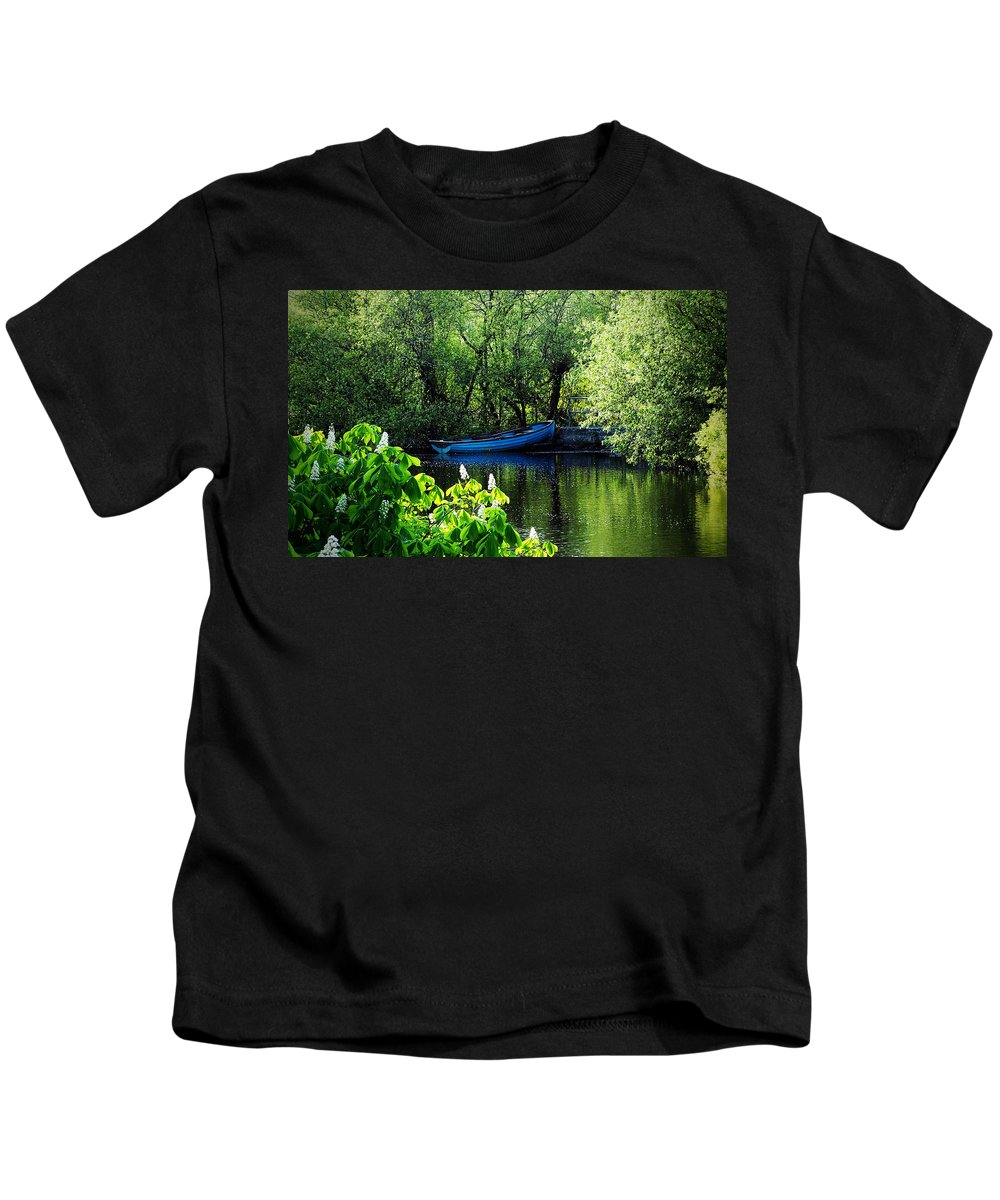 Irish Kids T-Shirt featuring the photograph Blue Boat Cong Ireland by Teresa Mucha