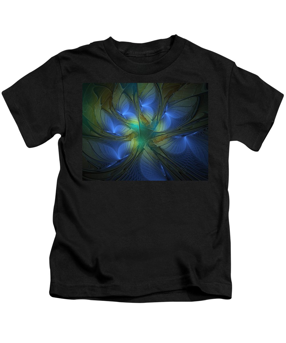 Digital Art Kids T-Shirt featuring the digital art Blue Butterflies by Amanda Moore