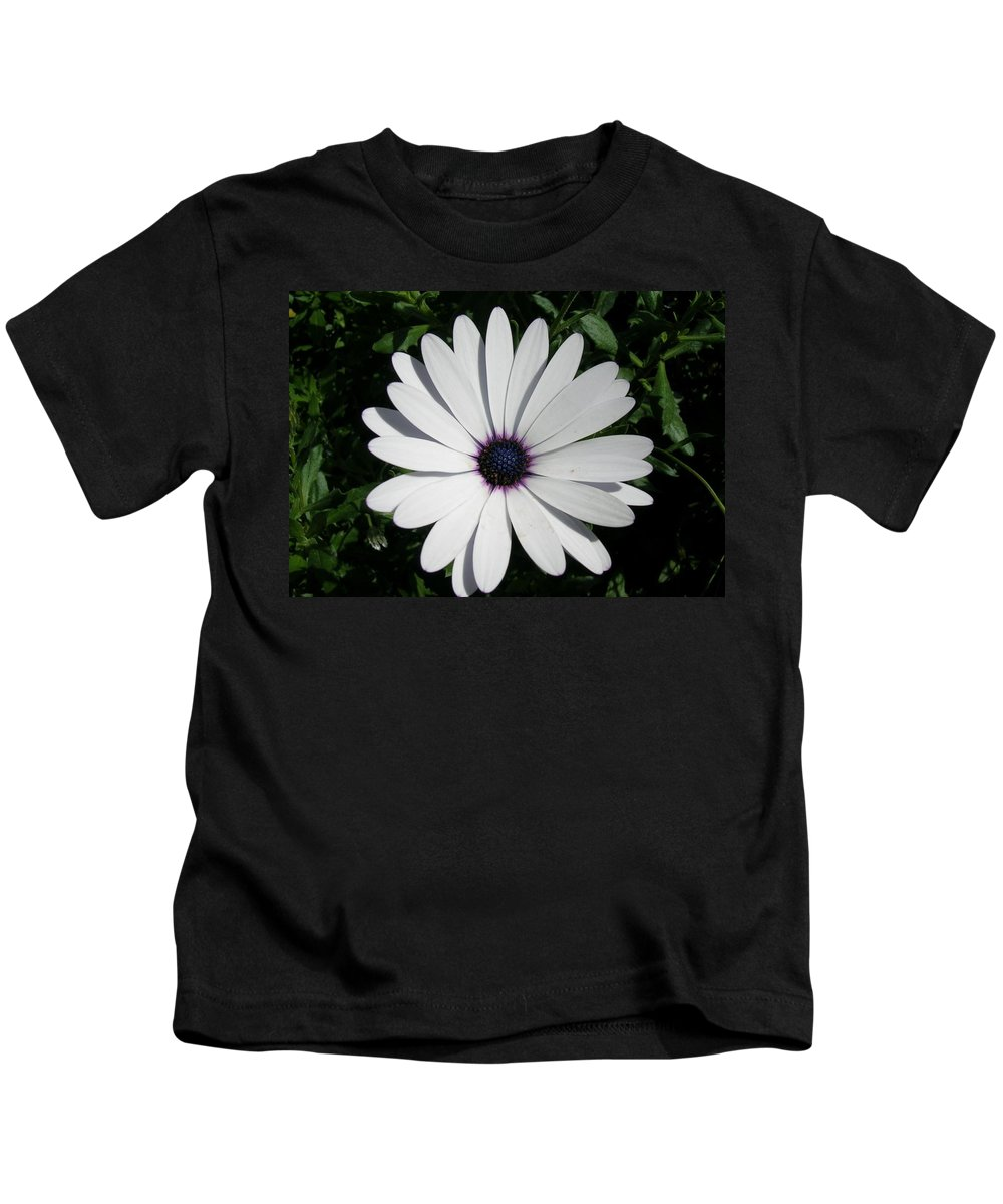 Daisy Kids T-Shirt featuring the photograph Blue Center Daisy by Valerie Ornstein