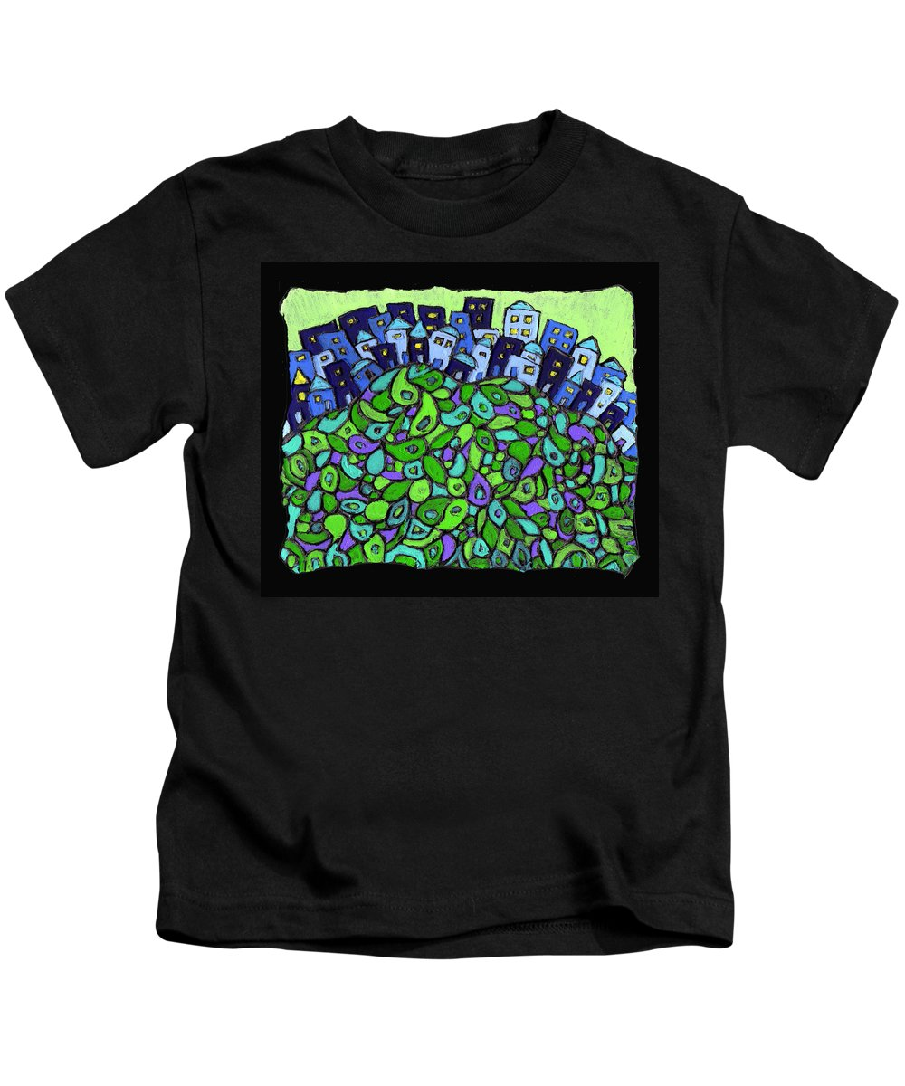 City Kids T-Shirt featuring the painting Blue City On A Hill by Wayne Potrafka