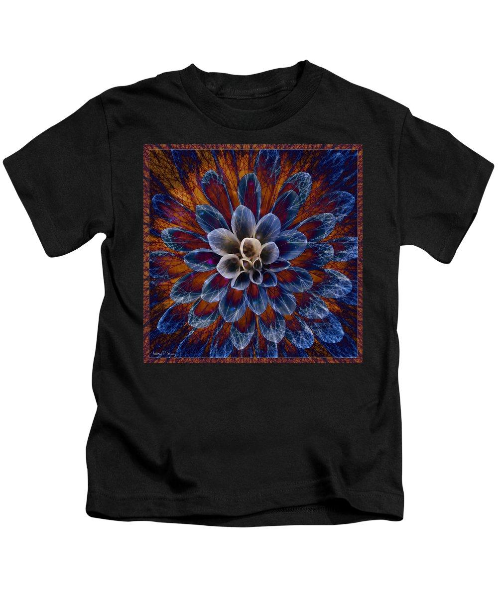 Flower Kids T-Shirt featuring the digital art Blue Dahlia by Barbara Berney