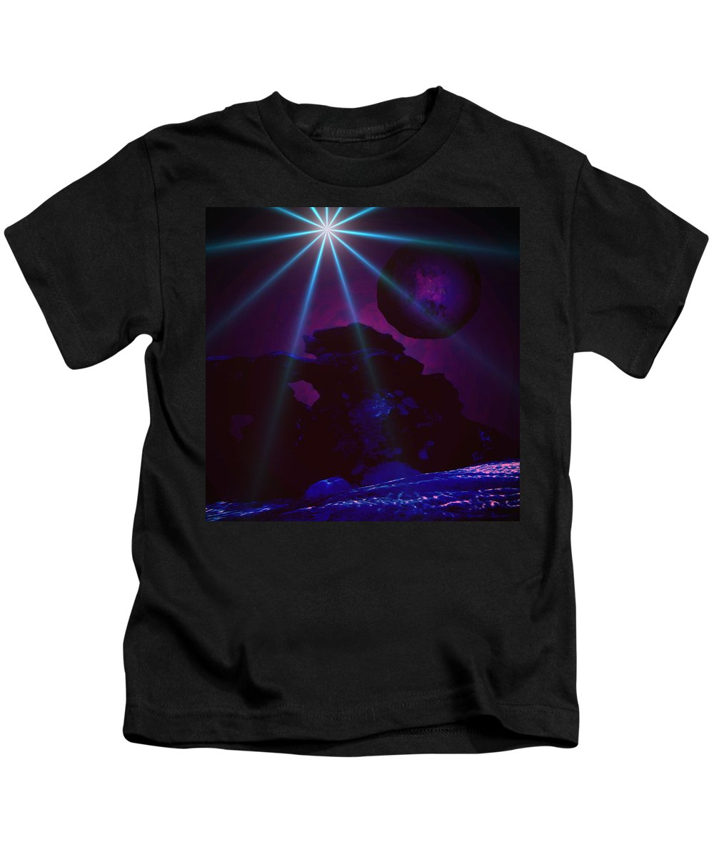 Planet Worlds Outterspace Space Star Alien Landscape Moon Sky Skies Clouds Blue Kids T-Shirt featuring the digital art Blue Day by Andrea Lawrence