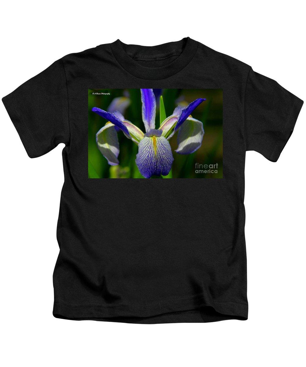 Blue Flag Iris Kids T-Shirt featuring the photograph Blue Flag Iris by Barbara Bowen