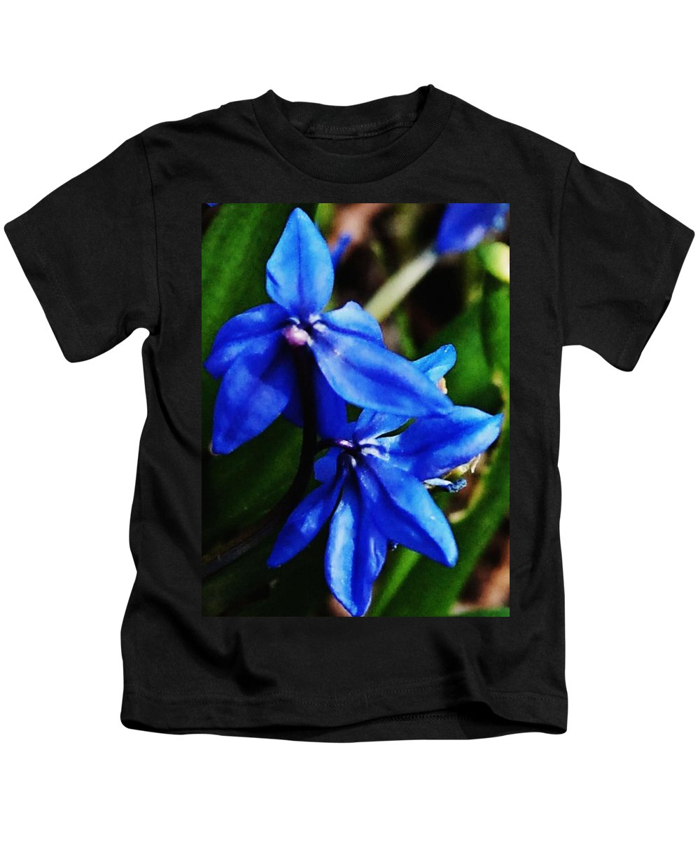 Digital Photo Kids T-Shirt featuring the photograph Blue Floral by David Lane