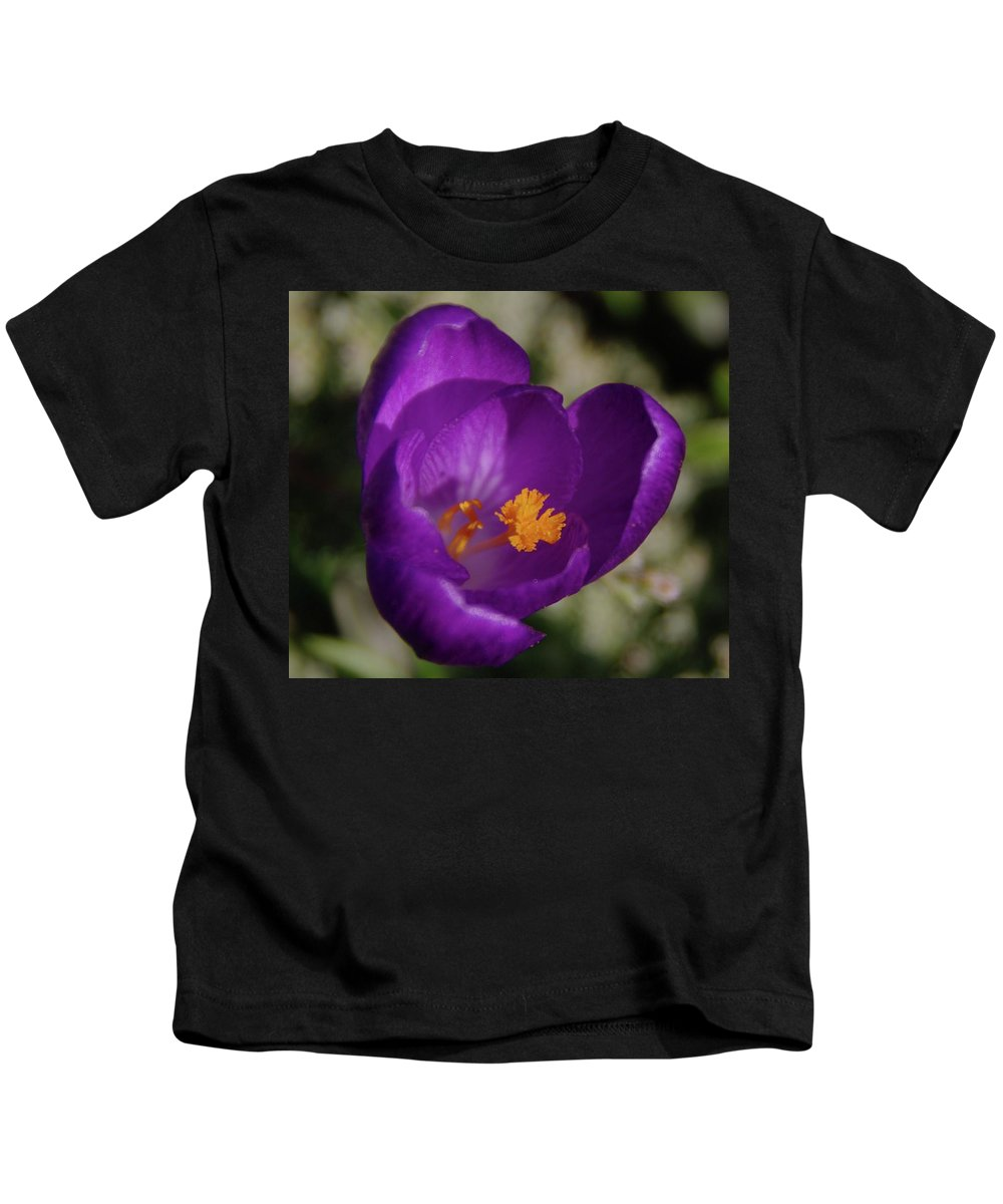 Flowers Kids T-Shirt featuring the photograph Blue Flower Opening by Jeff Swan
