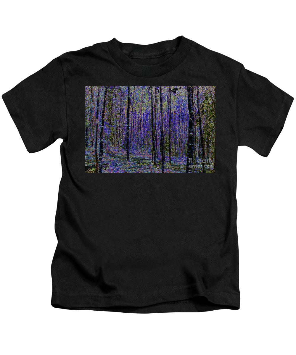Art Kids T-Shirt featuring the painting Blue Forest by David Lee Thompson