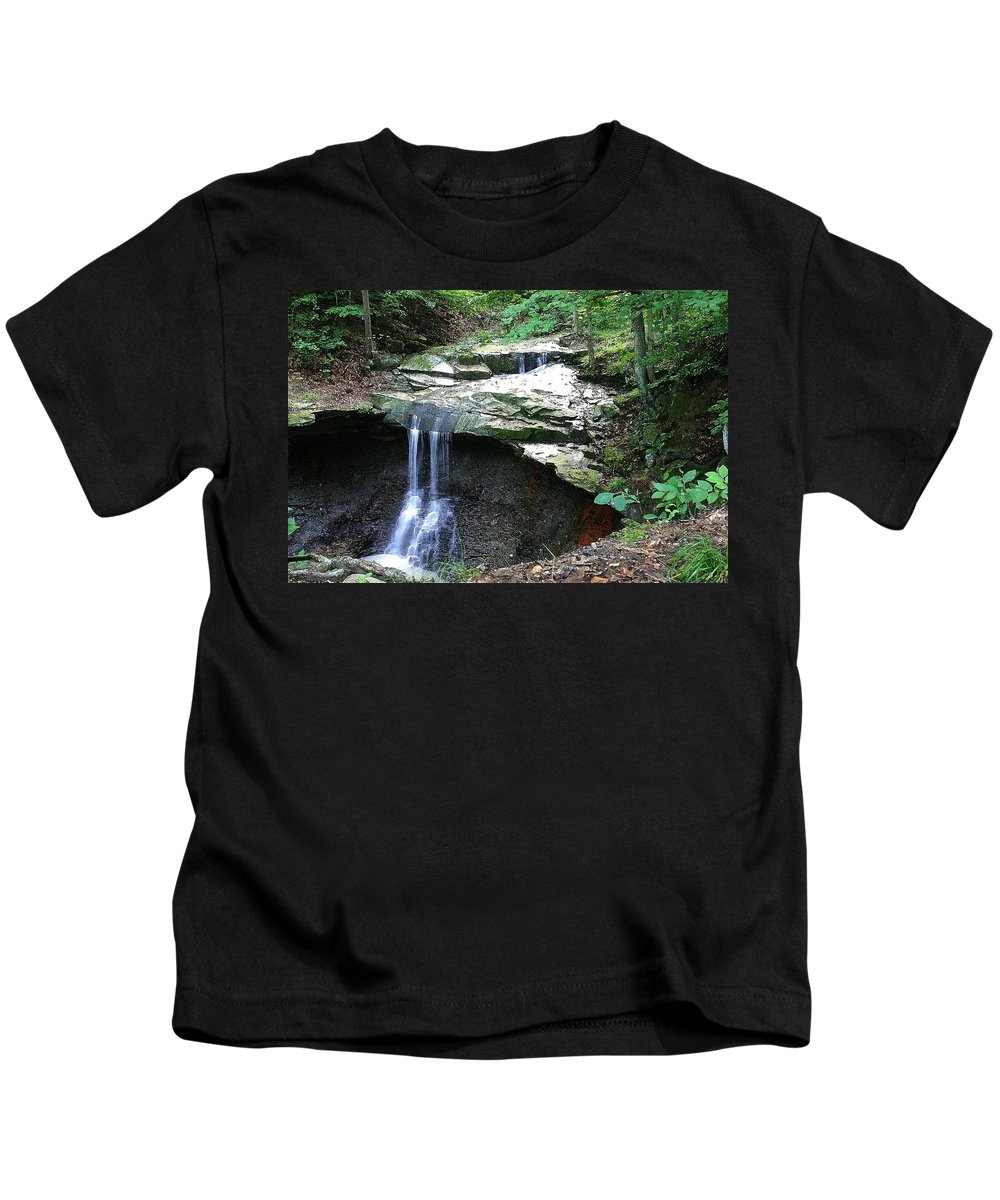 Waterfall. Water Kids T-Shirt featuring the photograph Blue Hen Falls by Nelson Strong