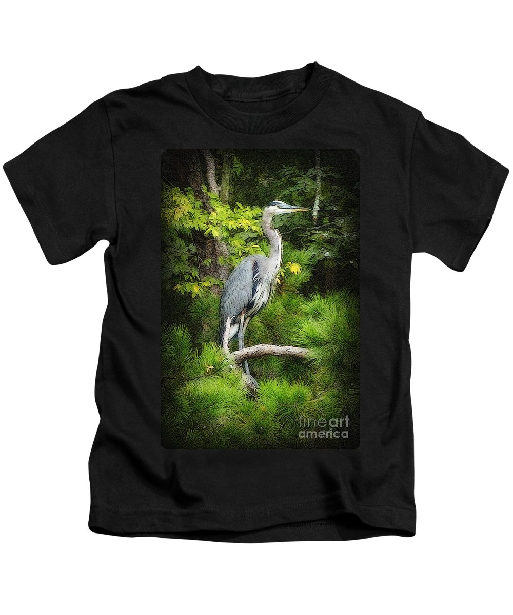 Heron Kids T-Shirt featuring the photograph Blue Heron by Lydia Holly