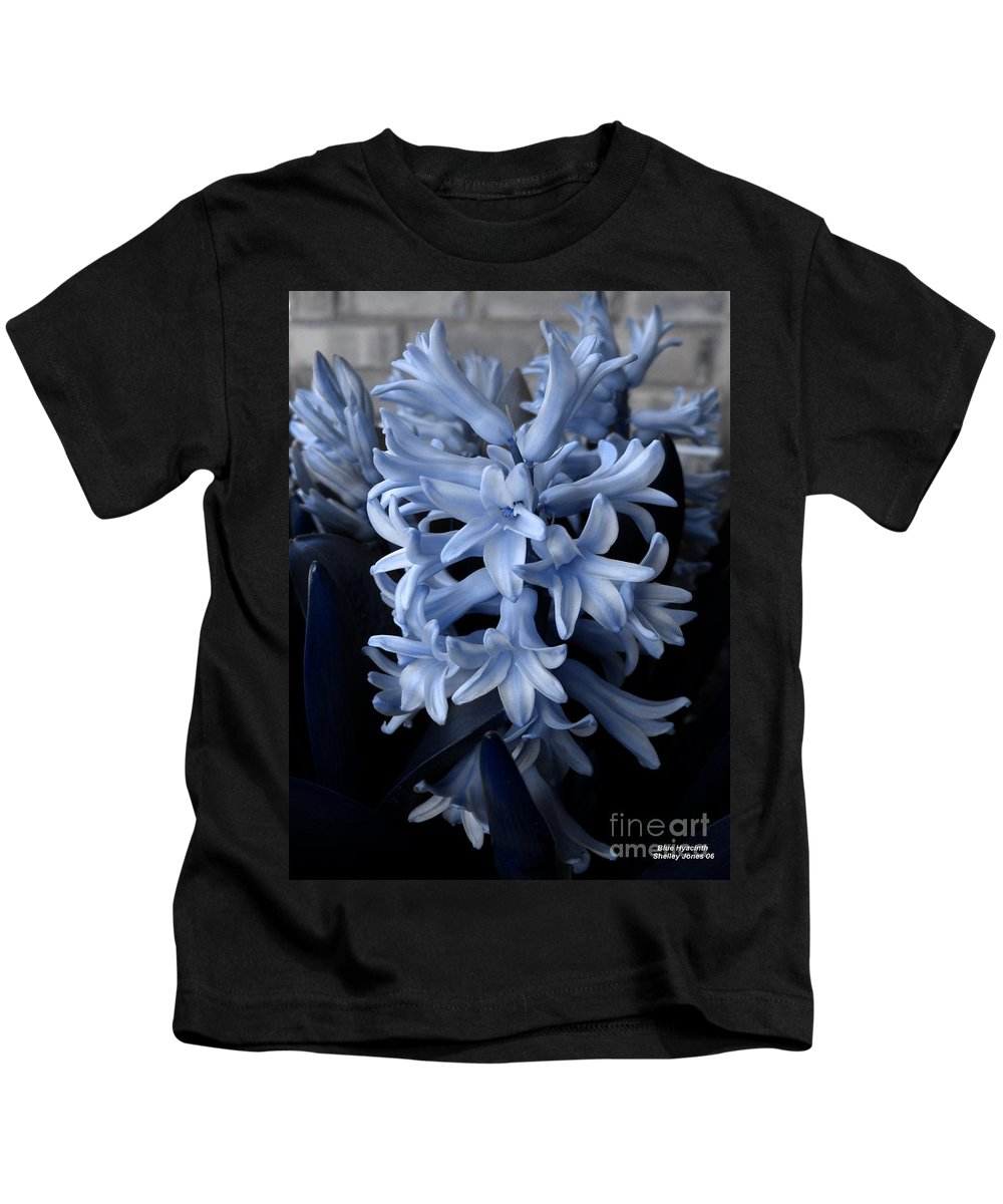 Blue Kids T-Shirt featuring the photograph Blue Hyacinth by Shelley Jones