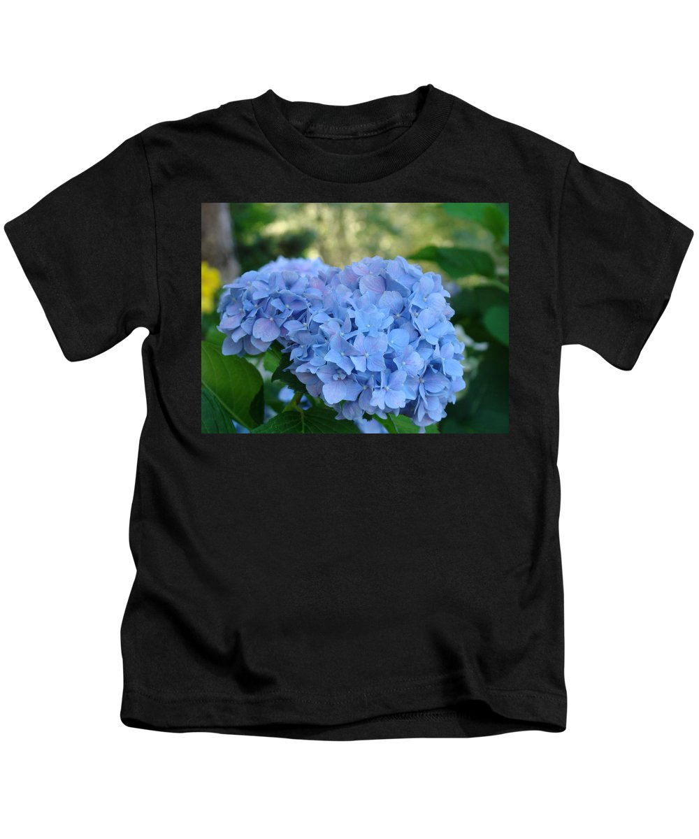Hydrangea Kids T-Shirt featuring the photograph Blue Hydrangea Flower Art Prints Baslee Troutman by Baslee Troutman
