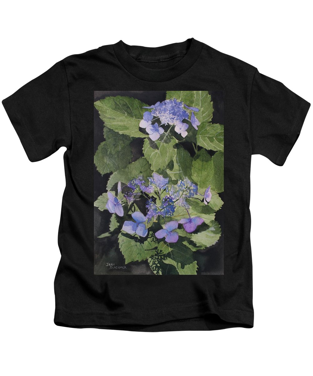 Flowers Kids T-Shirt featuring the painting Blue Lace by Jean Blackmer